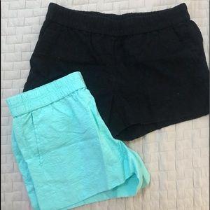 J crew shorts (x2) size 6 EUC teal & black comfy!